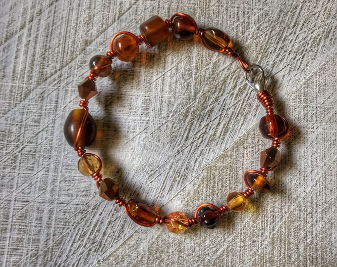"7"" Boho Amber Glass Beaded Solid Copper Wire Wrapped Bracelet"