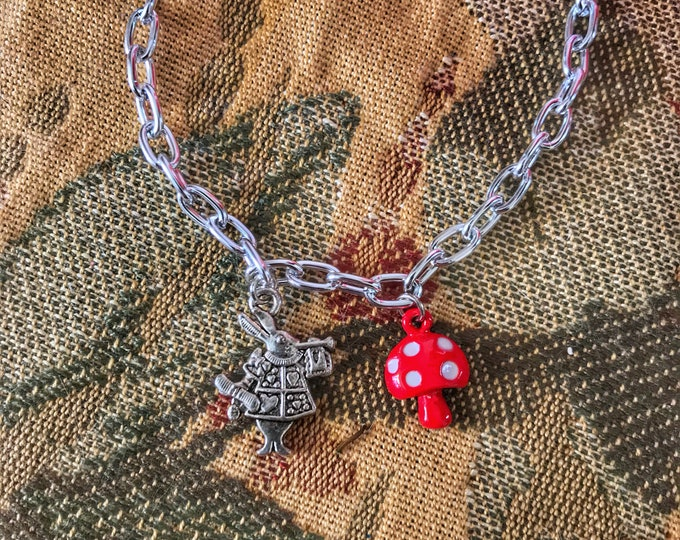 Alice's Adventures in Wonderland Bracelet with White Rabbit and Mushroom Charms
