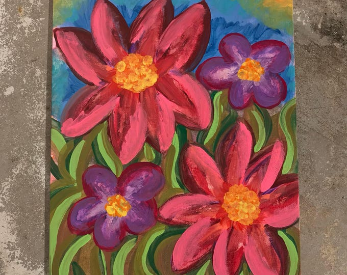 "9""x12"" Original Abstract Flower Colorful Painting on Canvas"