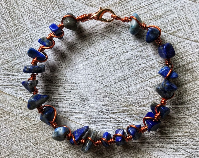 "7"" Polished Lapis Lazuli Crystal Solid Copper Wire Wrapped Bracelet"
