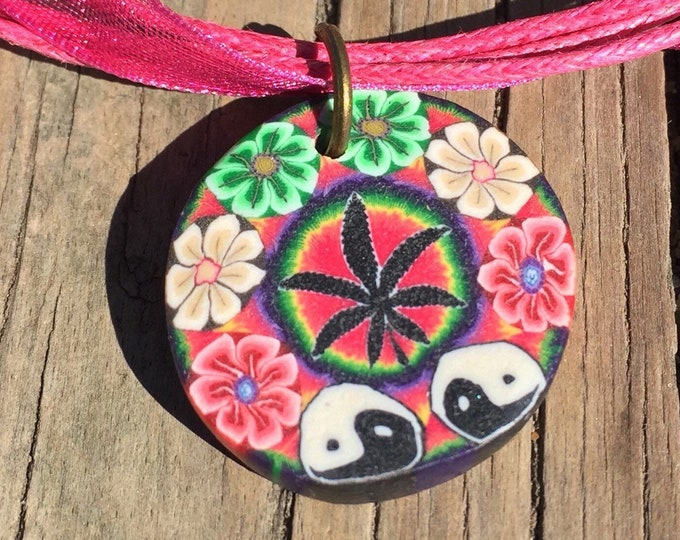 Pot Leaf and Yin Yang Adjustable Necklace with Pink Ribbon Cord