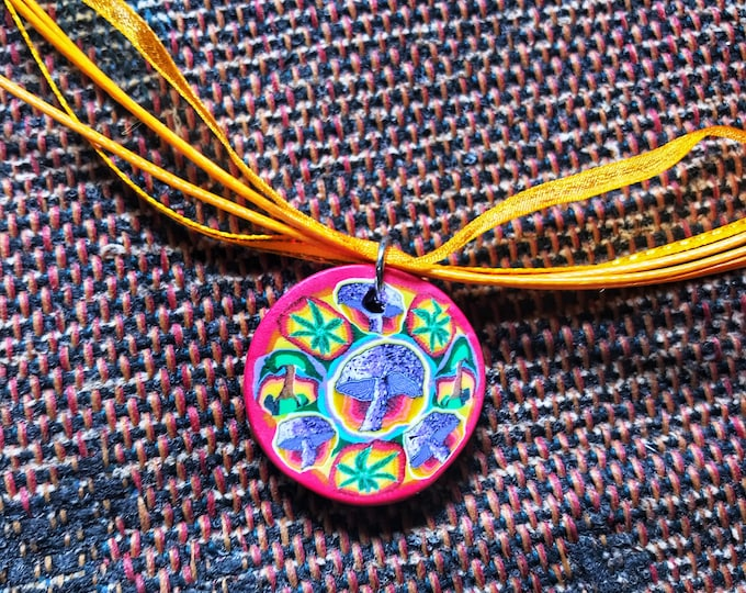 "20.5"" Psychedelic Trippy Mushroom Necklace with Yellow Adjustable Ribbon Cord"
