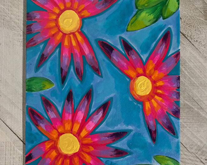 "8""x10"" Original Abstract Psychedelic Flower Painting on Flat Canvas"