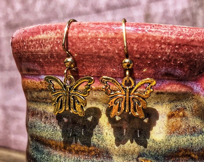 Dainty Boho Butterfly Goldtone Dangle Earrings