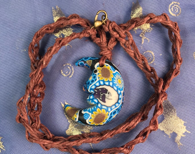 Trippy Moon and Flower Hemp Necklace, 19""