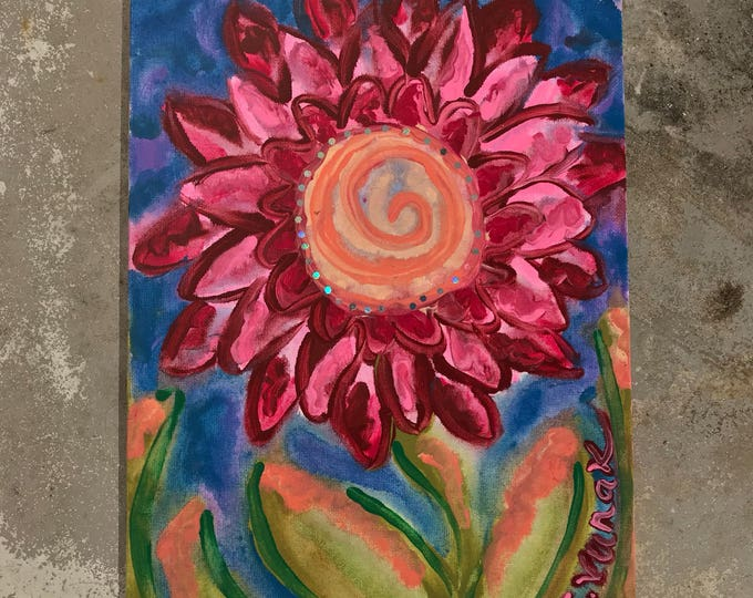 "9""x12"" Original Psychedelic Abstract Flower Painting on Canvas with Holographic Glitter"
