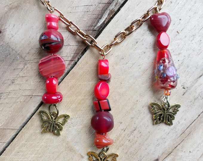 Red Butterfly Necklace, Red Glass Necklace, Butterfly Gift, Butterfly Jewelry, Butterfly Lover Gift, Long Statement Boho Necklace - 21""
