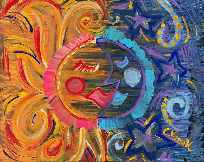"8.5""x11"" Sun and Moon Celestial Print in High Resolution"
