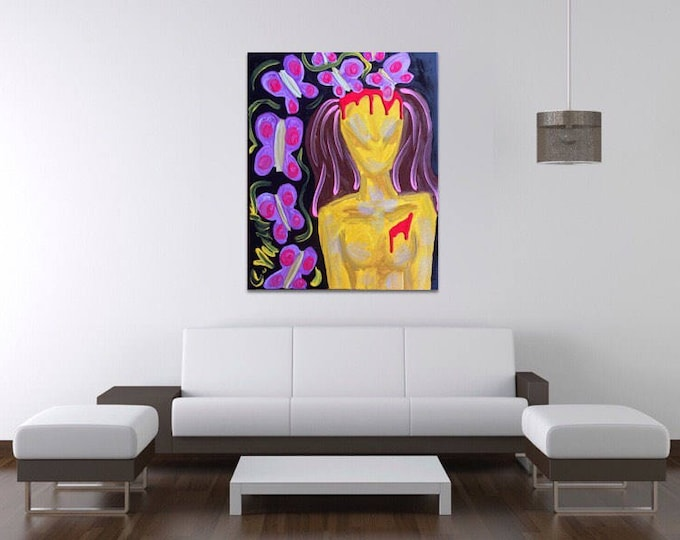 "16""x20"" Original Abstract Butterfly and Naked Female Painting on Canvas with Glitter"