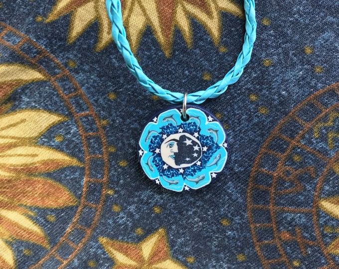 Blue Psychedelic Moon Necklace with Adjustable Chain