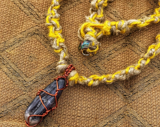 "21"" Copper Wire Wrapped Polished Amethyst Hemp Necklace with Yellow Accents"