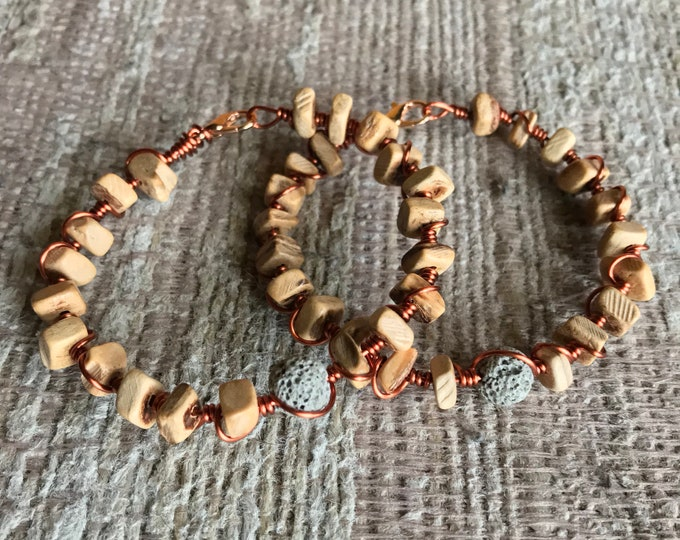 Essential Oil Diffuser Lava Stone Copper Wire Wrapped Bracelet, 7""