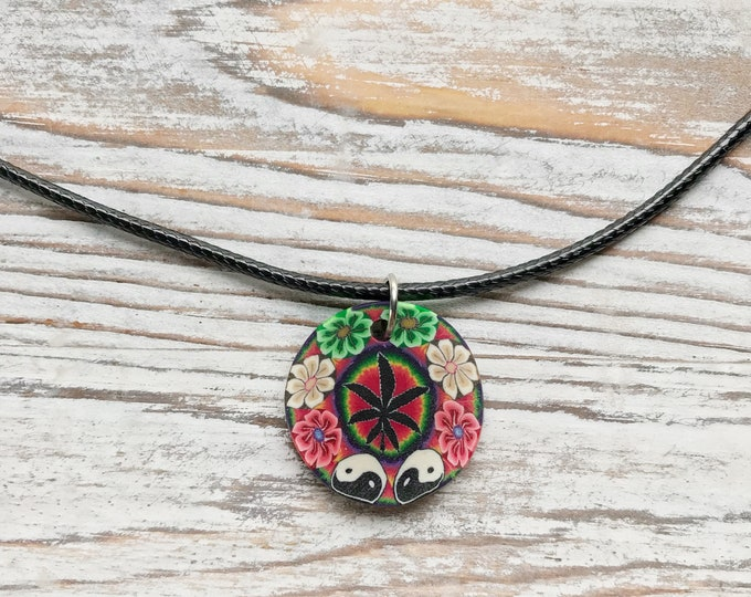 Pot Leaf necklace, Marijuana necklace, Weed necklace, Cannabis necklace, Yin Yang necklace, Flower necklace, Psychedelic necklace, Trippy