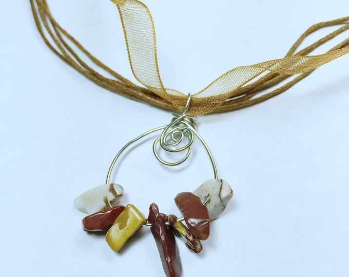 Mookaite Jasper Crystal Wire Wrapped Adjustable Necklace