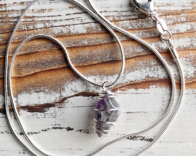 Amethyst Necklace, Crystal Necklace, Amethyst Crystal, 925 Sterling Silver, Amethyst Jewelry, Crystal Jewelry, 925 Amethyst Jewelry, 925