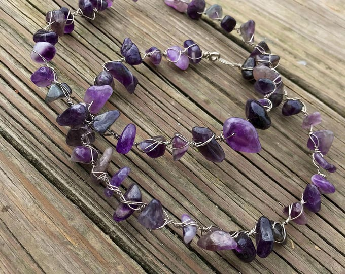 Polished Amethyst Crystal Wire Wrapped Choker