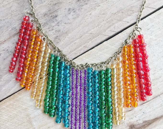 Rainbow Glass Beaded Statement Necklace, 20""