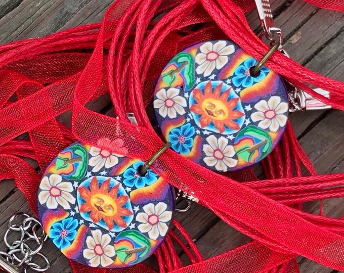 Psychedelic Sun and Flower Necklace with Adjustable Red Ribbon Cord