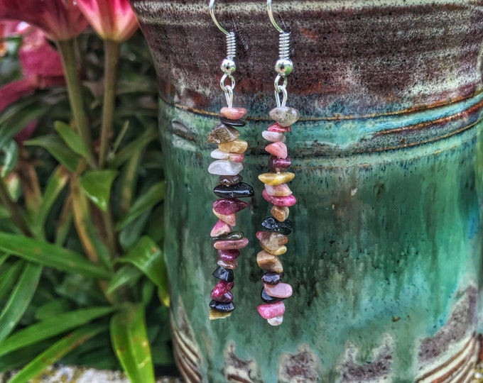 "2"" Tourmaline Crystal Dangle Earrings"