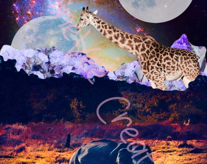 Digital Download, Wildlife Digital Art, Wildlife Graphic Art, Instant Download, Elephant Digital Art, Giraffe Digital Art, Trippy Digital