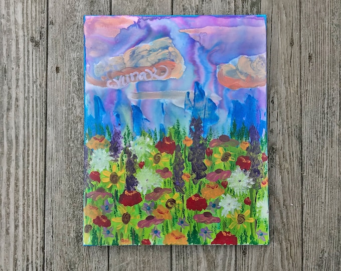 """Original Abstract Wildflower Acrylic Painting on 16""""x20"""" Canvas"""