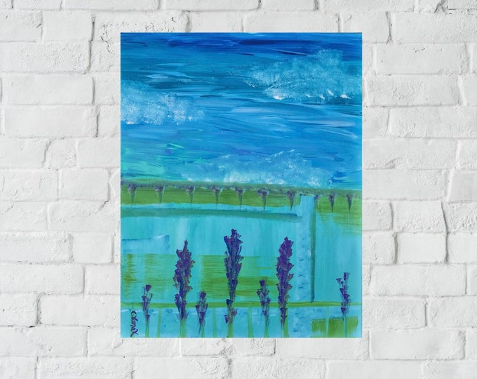 """Original Lavender Flower Abstract Painting - 16""""x20"""""""