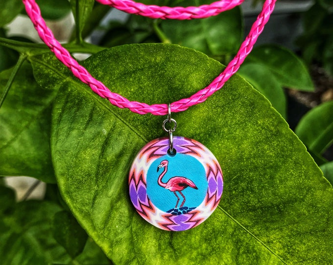 Pink Flamingo Tropical Necklace with Adjustable Faux Leather Cord