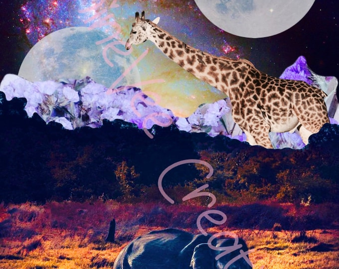 Digital Download, Wildlife Digital Art, Wildlife Graphic Art, Instant Download, Elephant Digital Art, Giraffe Digital Art, Trippy Digital