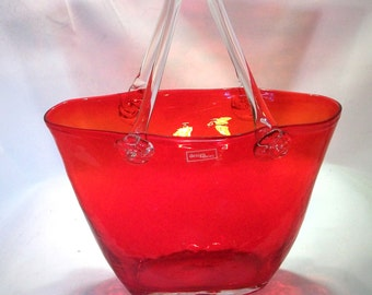 Art Glass Purse Red Glass Purse Vase Design Society