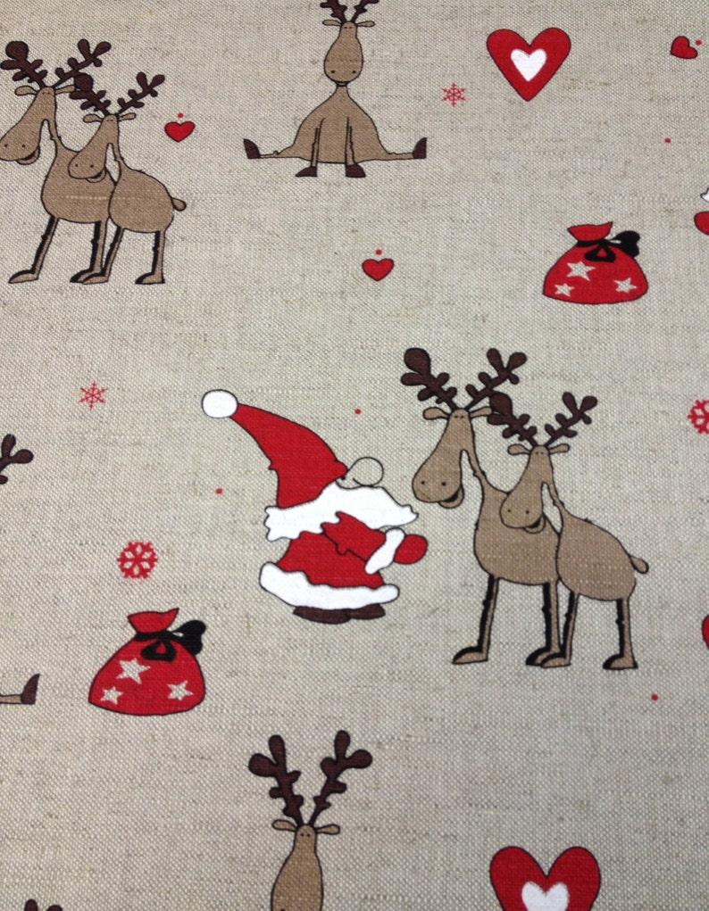 Christmas Fabric Santa's Reindeers Fabric High Quality image 0