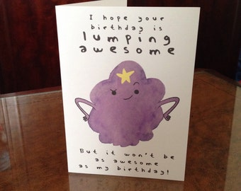 Lumpy Space Princess inspired lumping awesome birthday card