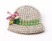 Czech glass rhinestone Art Deco hat pin brooch crystal clear green