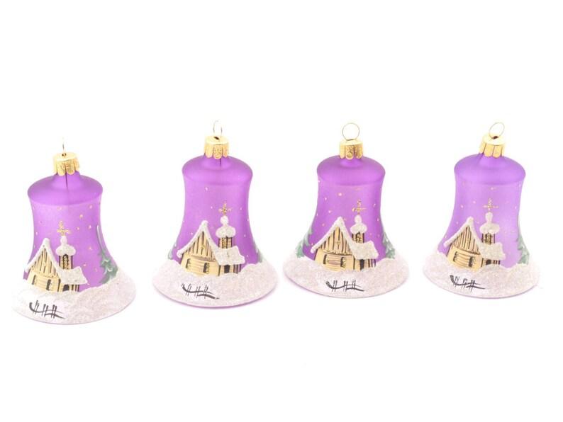 Designer Christbaumkugeln.Satz 4 Designer Tschechische Glas Glocke Ornamente Dekorationen Christbaumkugeln Hand Bemalte Lila