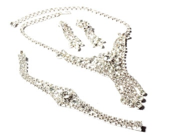 Vintage Czech hand crafted silver tone plated crystal rhinestone choker necklace bracelet earring set