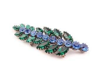 Large Vintage Czech Bohemian blue green glass rhinestone fern leaf pin brooch