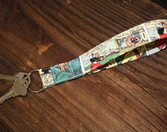 Key Fob - Popeye Comics Quilted Wristlet