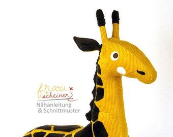 Schnittmuster Giraffe Gisela, Großes Kuscheltier und Reittier für's Kinderzimmer, Nähanleitung/Ebook