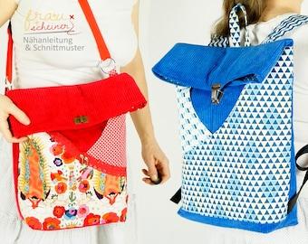 Rucksack & Schultertasche in 2 Größen mit 2 Außentaschen, Nähanleitung Tasche, Schnittmuster (PDF)