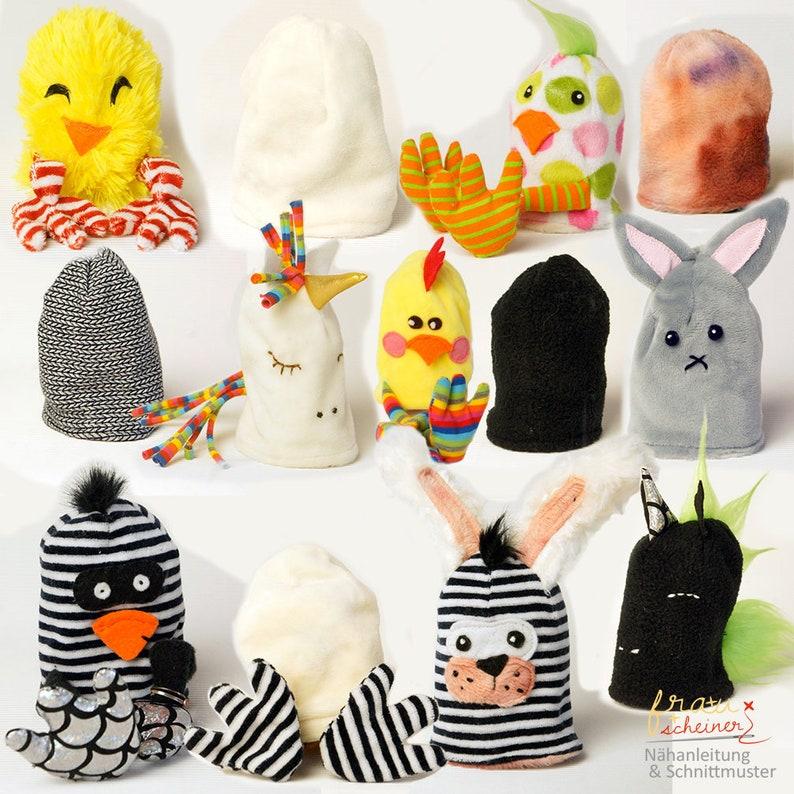 Einhorn Küken und Hase Eierwärmer und Geschenkebeutel DIY image 0