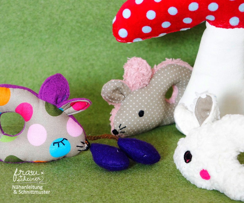 Babyrassel und Greifling Maus Fritzi Baby Spielzeug image 0
