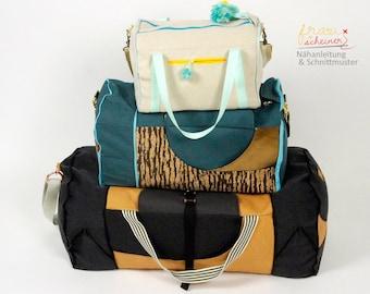 Schnittmuster Reisetasche, Weekender oder Sporttasche Yogini in 3 Größen, Nähanleitung-Set zum Sparpreis