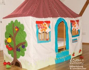 Stoff Spielhaus und Betthimmel für das Kinderzimmer, Spielzelt Babybett, Höhle Kinderzimmer, Schnittmuster und PDF Anleitung