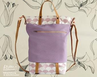 Tasche Nähanleitung, Bag, Schultertasche, Umhängetasche, Shopper und Handtasche Juna, Schnittmuster (PDF)