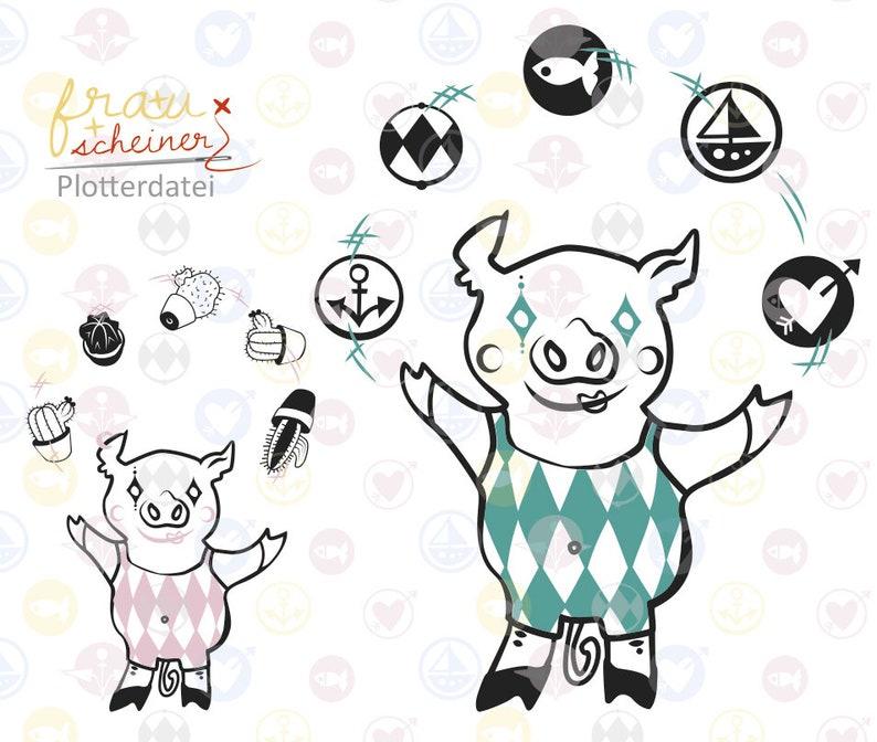 Schwein Sau und Ferkel jongliert mit Kaktus oder Kugeln image 0