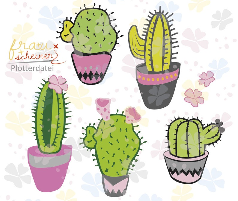 Cactus and cacti in the flowerpot or as ice-cream on the image 0