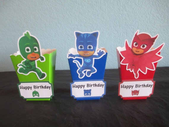 PJ Masks Popcorn Boxes40pj Masks Favor Boxespj Masks Etsy Enchanting Decorative Popcorn Boxes