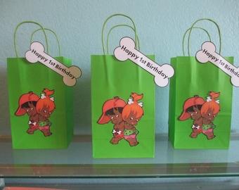 Pebbles and Bam Bam Favor Bags(10)Pebbles and Bam Bam Goodie Bags,Pebbles and Bam Bam Gift Bag,Pebbles and Bam Bam Party Bag,Dark Skin Tone
