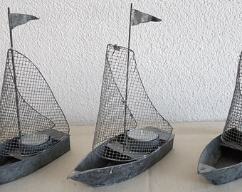 Sailing ship in zinc metal, tea light holder