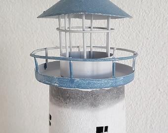 Lighthouse in metal, light blue for tea light