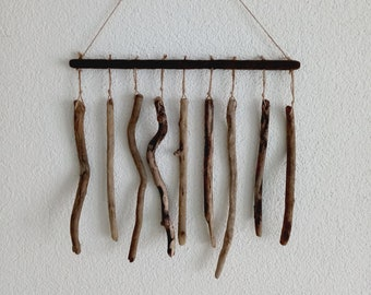 Wind chiming with driftwood - Wooden rods - Mobile